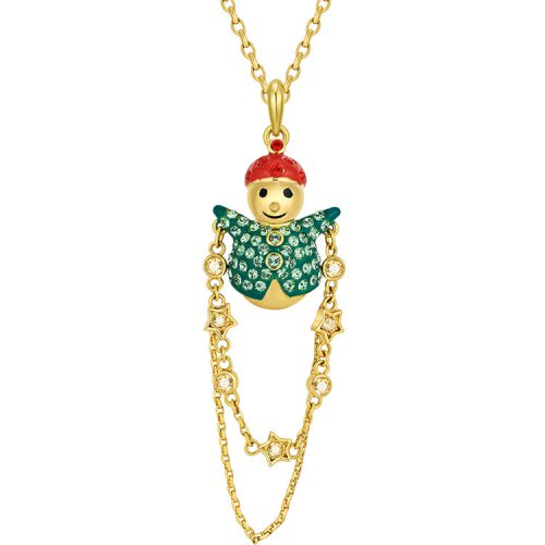 Crystals From Swarovski® | 18K Gold-Plated Crystal Christmas Snow Man Pend