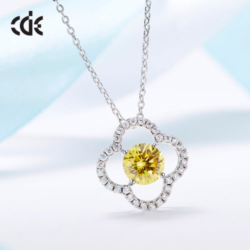 S925 Sterling Silver Yellow Daisy Pendant Necklace