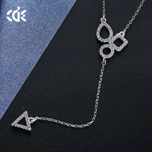 925 Sterling Silver Geometric Shape Crystal Pendant Necklace