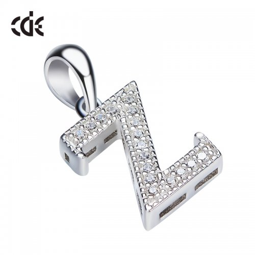 S925 Sterling Silver Simple Letter Z Pave Pendant Necklace