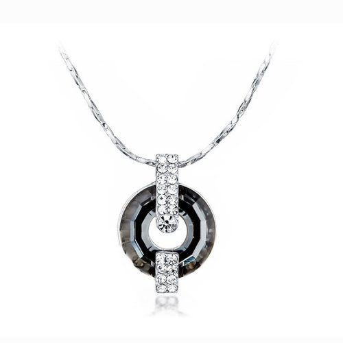 Crystals From Swarovski® | Black Crystal Circle Pendant Necklace