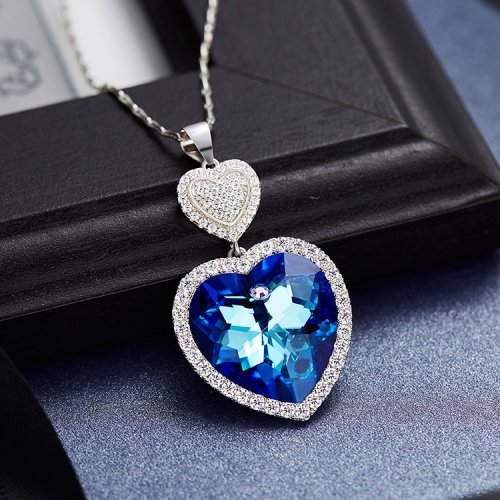Crystals From Swarovski® | S925 Sterling Silver Swarovski Double Heart Pendant Necklace