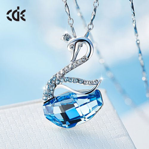 Crystals From Swarovski® | 925 Sterling Silver Blue Crystal Swan Pendant N
