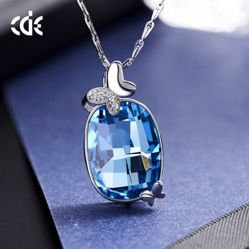 Crystals From Swarovski® | S925 Sterling Silver Swarovski Sapphire Women Pendant Necklace