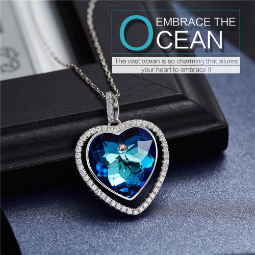 Crystals From Swarovski® | Navy Blue Crystal Heart Pendant Necklace