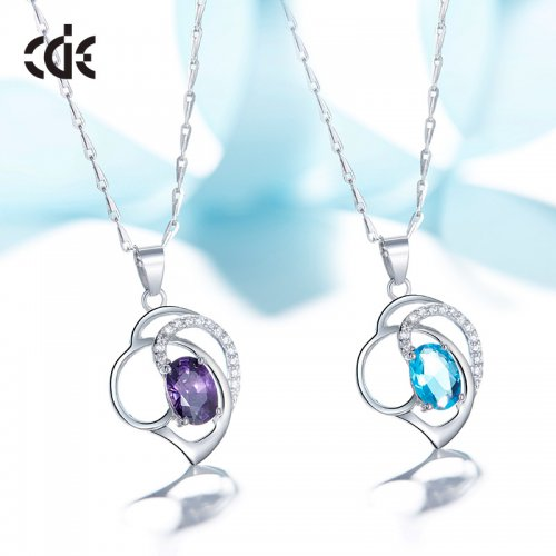 925 Sterling Silver Amethyst Crystal Pendant Necklace