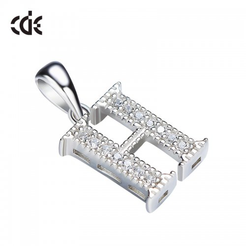 S925 Sterling Silver Simple Letter H Pave Pendant Necklace