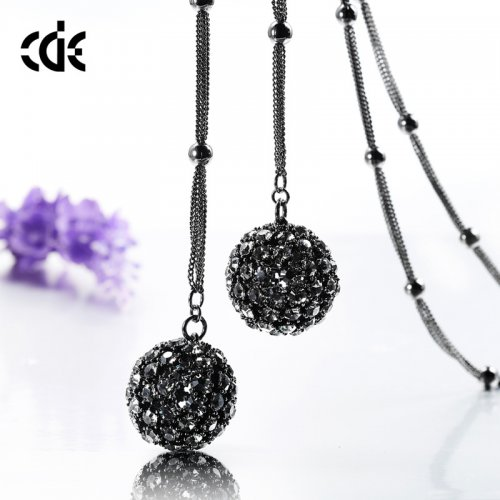 Crystals From Swarovski® | Black Crystal Bead Ball Sweater Pendant Necklac