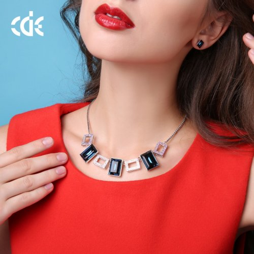 Crystals From Swarovski® | Love Cube Crystal Babylon Choker Pendant Necklace