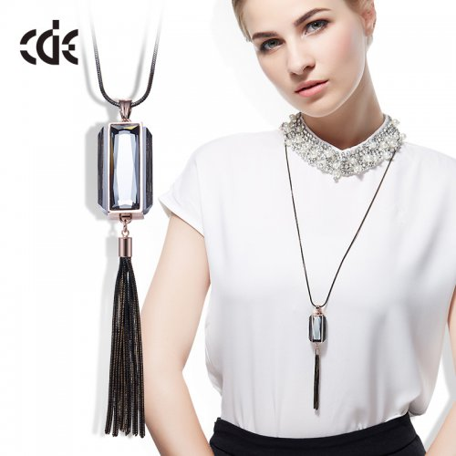 Crystals From Swarovski® | Long Dark Blue Cube Pendant Sweater Necklace