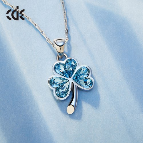 Crystals From Swarovski® | Blue 925 Sterling Silver Clover Pendant Necklac