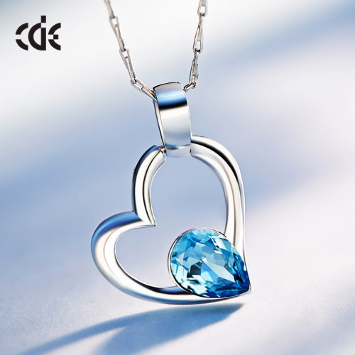 Crystals From Swarovski® | S925 Sterling Silver Tear In Heart Attract Pendant Necklace