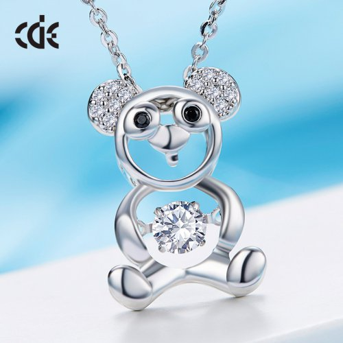 Little Cute Bear Crystal Pendant Necklace