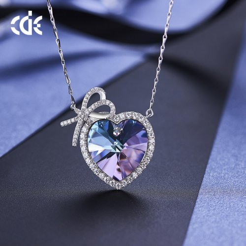Crystals From Swarovski® | S925 Sterling Silver Crystal Purple Heart Pendant Necklace
