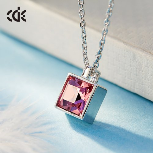 Crystals From Swarovski® | Single Pink Square Crystal Pendant Necklace